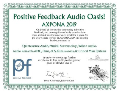 Positive Feedback Audio Oasis AXPONA 2019 - 2019
