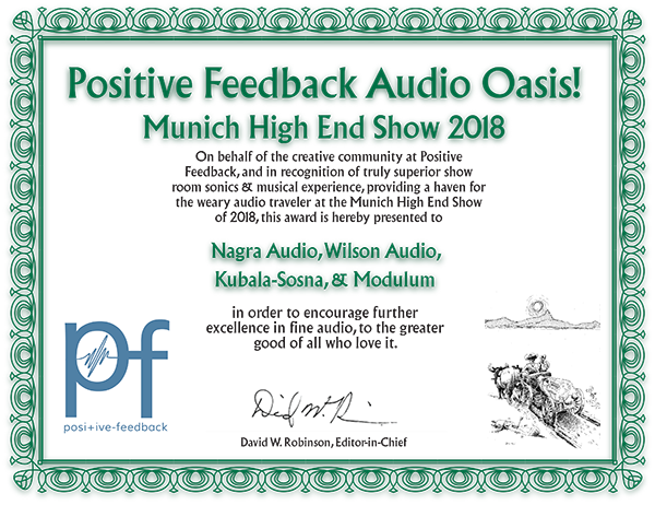 Positive Feedback Audio Oasis! Munich High End Show - 2018